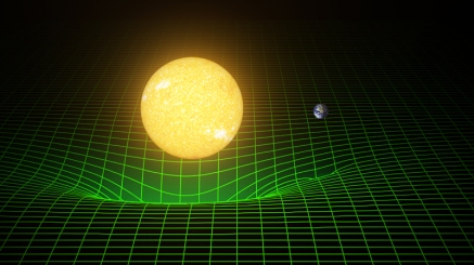 Gravitational waves - How Sun and Earth warp space and time is represented here with a green grid.  Image - LIGO T. Pyle