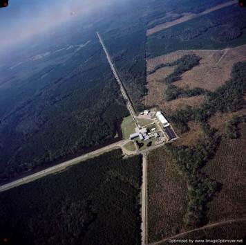 LIGO - An aerial view of the Laser Interferometer Gravitational-wave Observatory detector in Livingston, Louisiana. Photo - LIGO Laboratory-Optimized