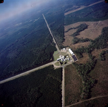 LIGO - An aerial view of the Laser Interferometer Gravitational-wave Observatory detector in Livingston, Louisiana. Photo - LIGO Laboratory
