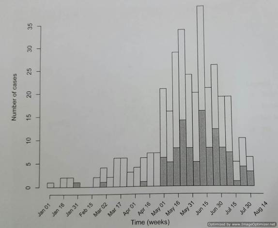Zika case in Rio between Jan and July 2015