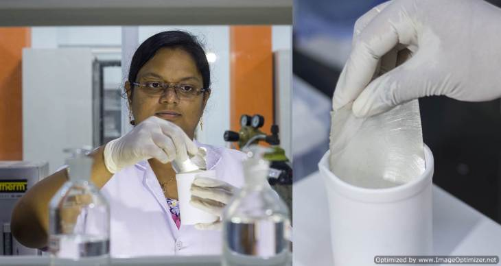 Dr. Ananya Baksi in the lab. A new silver foil used for the experiment (right)-Optimized